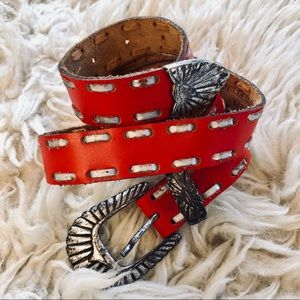 Vintage red western style belt with hewn buckle